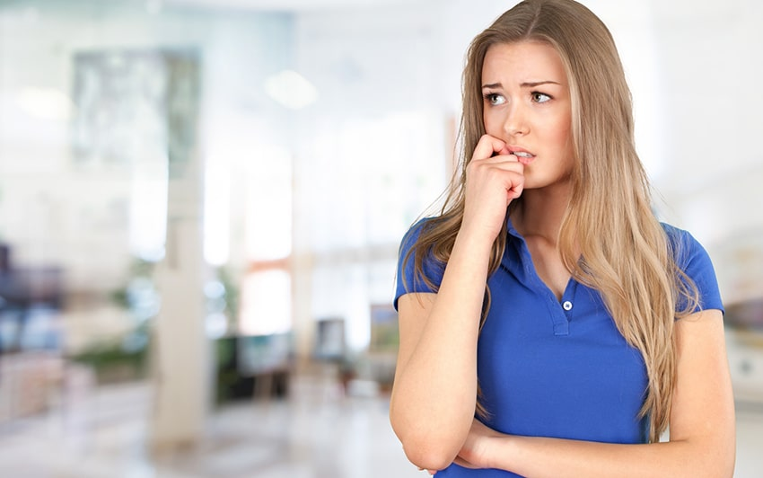 Woman with dental anxiety