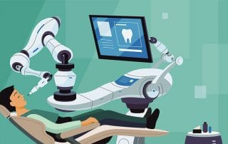illustration of a man sitting in a dental chair while a robot works on his teeth