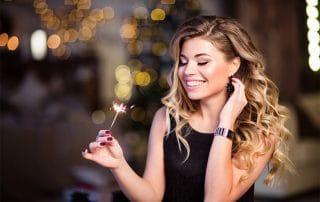 beautiful woman celebrating a new year